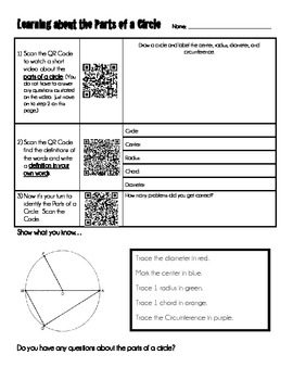 Parts of a Circle Activity Using Smart Phones/iPad/IPods