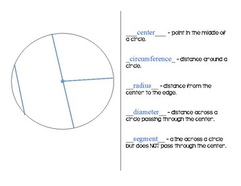 Parts of a Circle - Circle Challenge ANSWER KEY