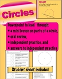 Parts of a Circle Lesson - Powerpoint & Student Sheet - Geometry