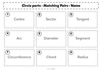 Parts of a Circle - Matching activity - Math - Geometry