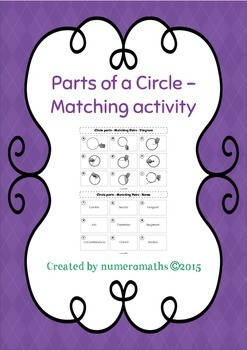 Parts of a Circle - Matching activity - Math - Geometry