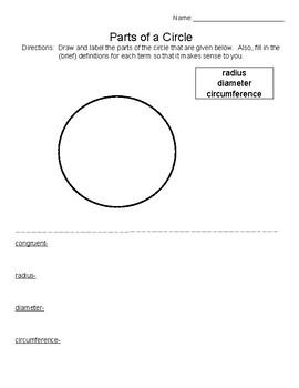 Parts of a Circle Notes