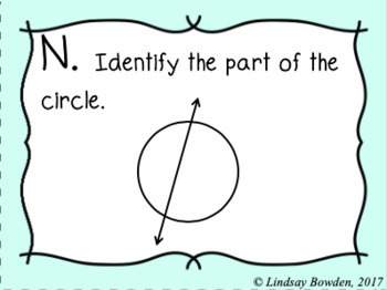 Parts of a Circle Task Cards