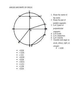 Parts of a Circle and Angles
