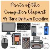 Parts of a Computer Clipart I Hand Drawn Doodles