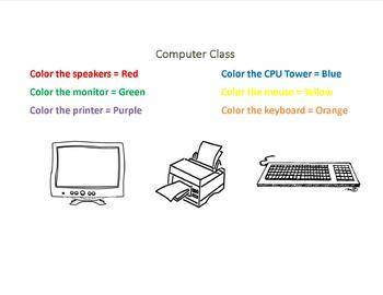 Parts Of A Computer Coloring Page