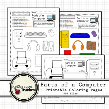 Parts of a Computer Printables by Madscrapper Teaches | TpT