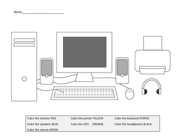 Computer keyboard coloring page