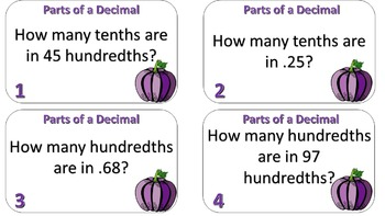 Parts of a Decimal Task Cards (Up to Hundredths)
