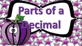 Parts of a Decimal Task Cards (Up to Hundredths)