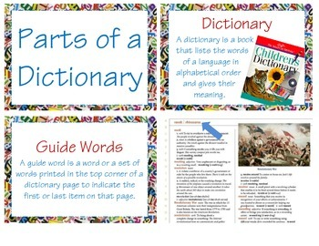 Parts of a Dictionary (L 2.2e & L 2.4e)