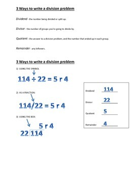 Parts of a Division Problem & 3 Ways to Write a Division Problem
