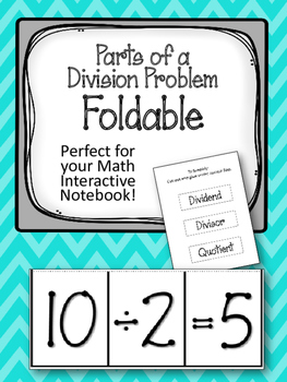 Parts of a Division Problem FOLDABLE. Math Interactive Notebook. Math Center