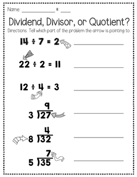 Parts of a Division Problem Freebie