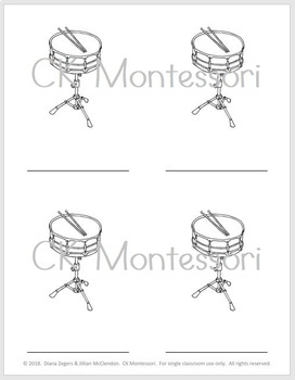 Parts of a Drum - Montessori 3 Part Cards
