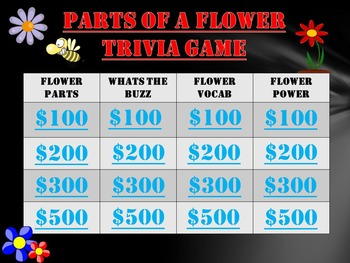 Parts of a Flower Trivia Game!  Fun Stuff!