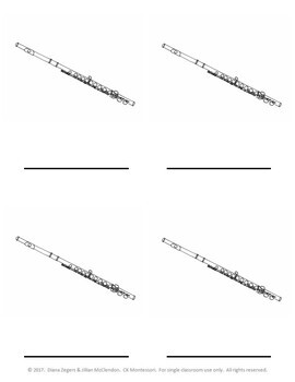 Parts of a Flute - Montessori 3 Part Cards