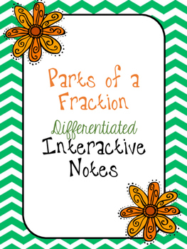 Parts of a Fraction Differentiated Interactive Notes