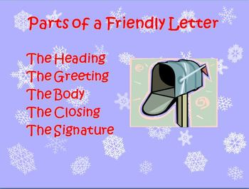 Parts of a Friendly Letter Power Point Presentation
