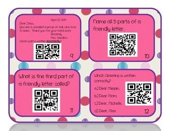 Parts of a Friendly Letter QR Code Task Cards