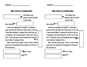 Parts of a Friendly Letter Quiz