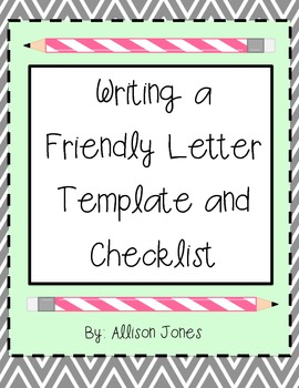 Parts of a Friendly Letter Template and Checklist