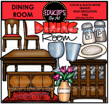 Parts of a House~Dining Room Clip Art Bundle {Educlips Clipart}