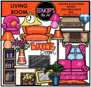 Parts of a House~Living Room Clip Art Bundle {Educlips Clipart}
