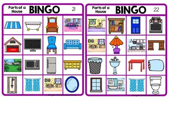 Parts of a House Themed Bingo Game