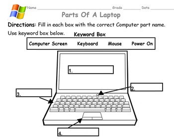 Parts of a Laptop ( Fill in the Blanks )