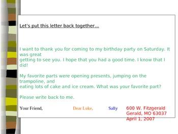 Parts of a Letter Lesson