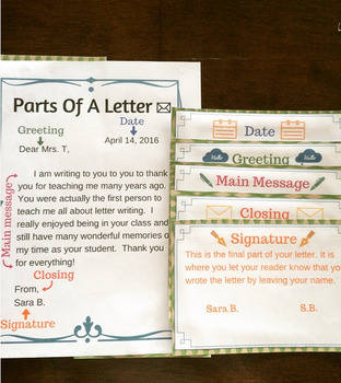 Parts of a Letter - Poster Cards & Worksheets