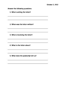 Parts of a Letter Review Activity