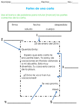 Parts of a Letter- Spanish