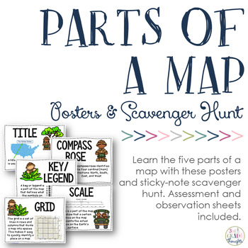 Parts Of A Map Parts of a Map: Posters & Sticky Note Scavenger Hunt by 3rd Grade  Parts Of A Map