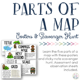 Parts of a Map: Posters & Sticky Note Scavenger Hunt