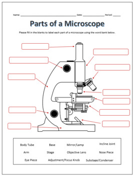Parts Of A Microscope Labeling Functions Worksheet Science Tpt