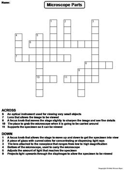 Parts of a Microscope Worksheet/ Crossword Puzzle by Science Spot