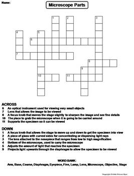 Parts of a Microscope Worksheet/ Crossword Puzzle