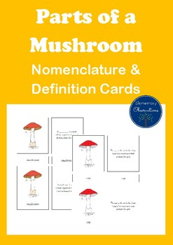 Parts of a Mushroom Nomenclature and Definition Cards