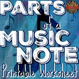 Parts of a Music Note - Printable PDF Worksheet - Supplement to YouTube Video