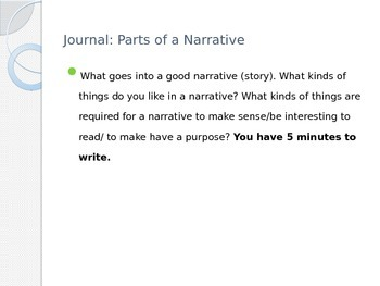 Parts of a Narrative Lesson Plan Power Point