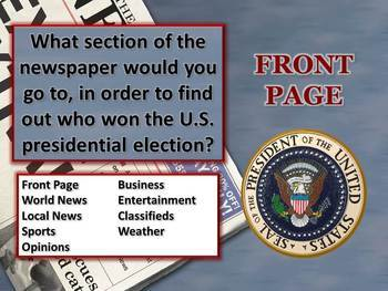 Parts of a Newspaper PowerPoint Lesson
