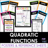 Quadratic Functions Posters & Reference Sheet
