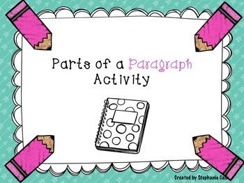 Parts of a Paragraph Activity