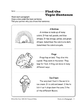 Parts of a Paragraph: Big Idea & Topic Sentence