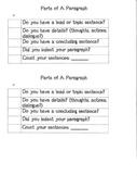 Parts of a Paragraph Checklist