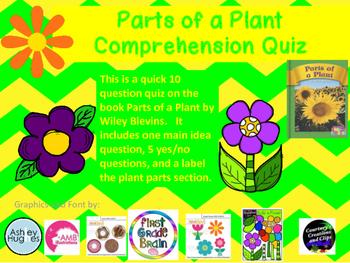 Parts of a Plant Comprehension Quiz