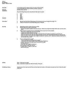 Parts of a Plant Lesson and Activity Template