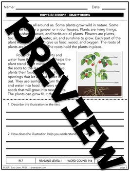 Parts of a Plant • Reading Comprehension Passages and Questions • RL I